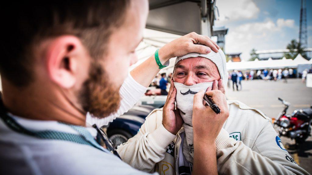 driver in costume spirit of 2018 Le Mans Classic