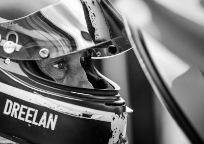 racing driver eyes in crash helmet