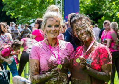2 girls in pink pretty muddy
