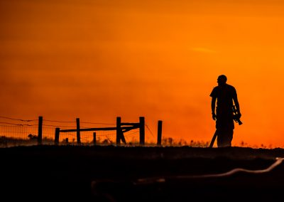 firefighter sunset silhouette