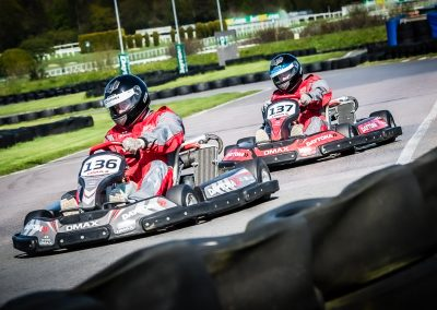 2 go kart racers in red suits
