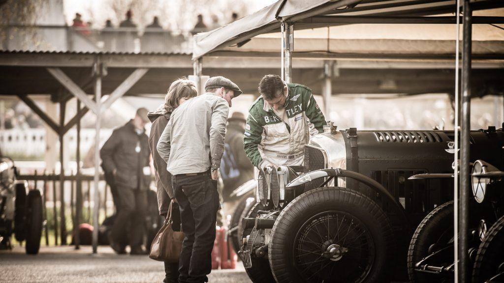 Bentley driver talks to spectators