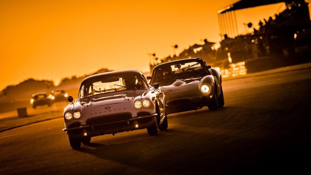 Classic Corvette and E Type racing cars