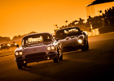 Classic Corvette and E Type racing cars