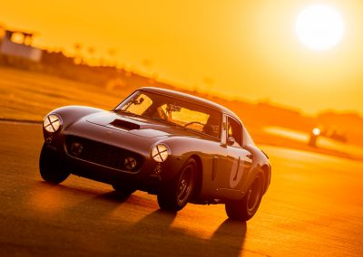 Ferrari racing car at sunset