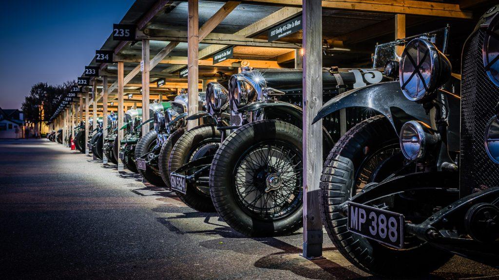 Classic Le Mans Bentleys in paddock