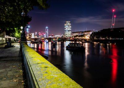 north bank river thames at night