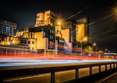 light trails at night Mi5 Building