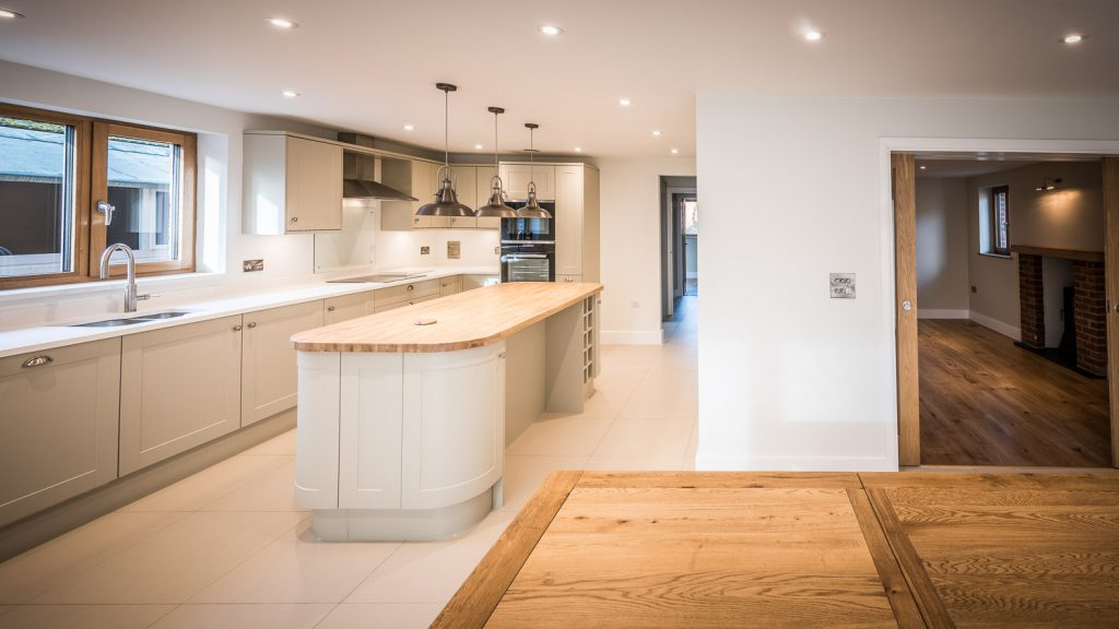 open plan kitchen areas house new build