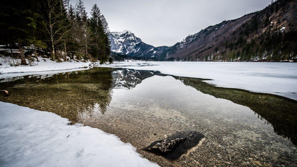 frozen lake Langbathsee Austria