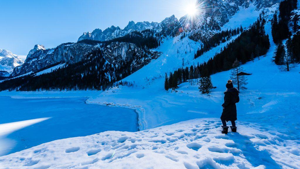 deeps snow around lake Gosausee