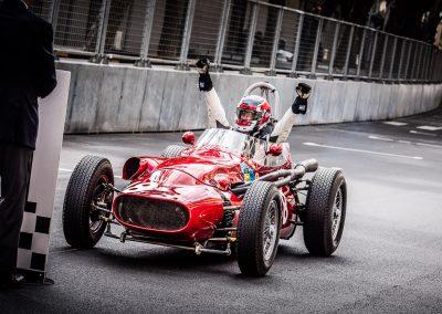 jubilant winning racing driver