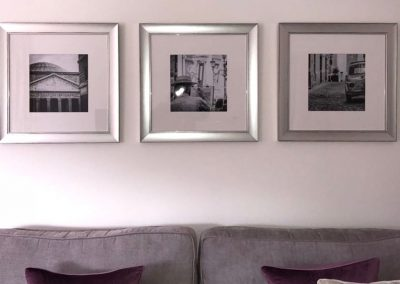 three Rome photos in frames