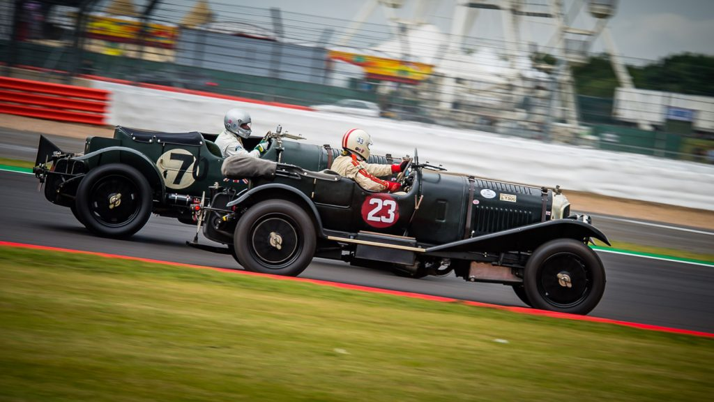2 racing bentleys at Silverstone Classic 2019