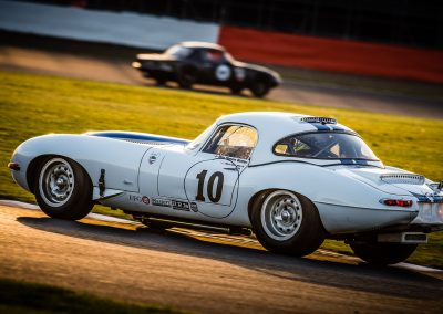 Jaguar E type at sunset