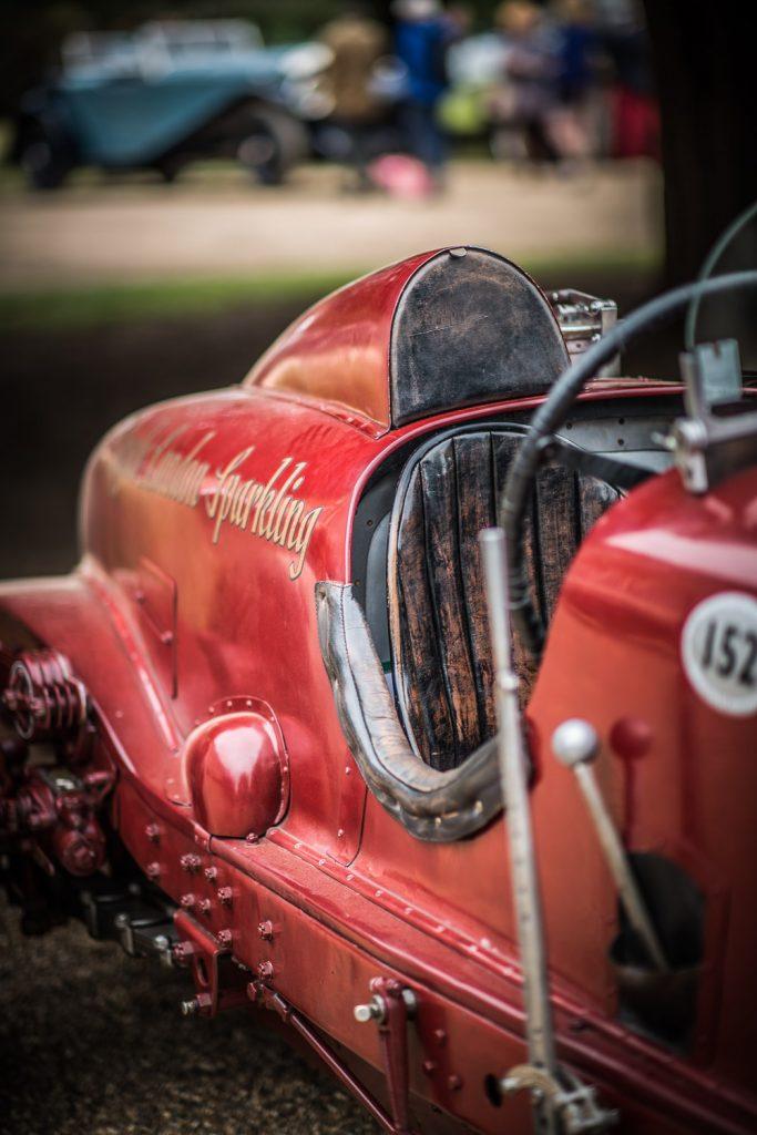 Classic racing Bentley in unusual red