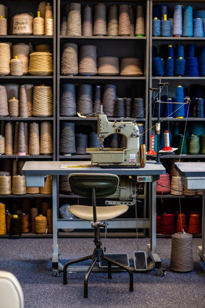multicoloured yarn bobbins