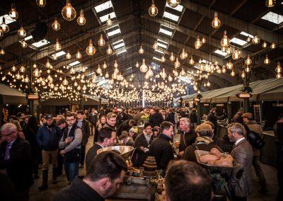 bulbs create lighting in barn