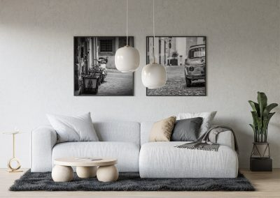 Fiat 500 photo print in frame