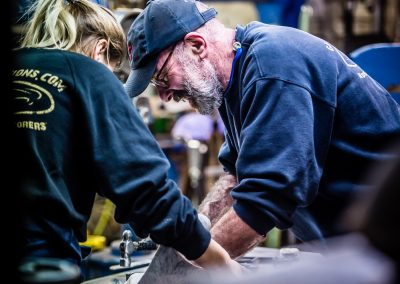man and girl in workshop G&A Fabrications craftsmanship