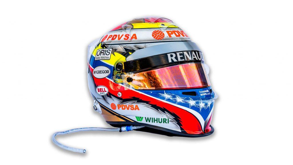 Race Used Pastor Maldonado helmet